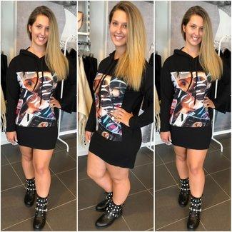 Sweater Dress Tekst Black - ONESIZE