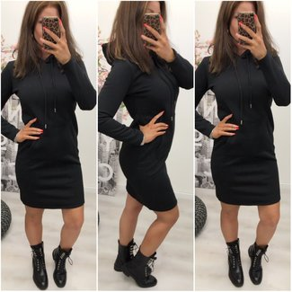 Basic Hoodie Dress Black