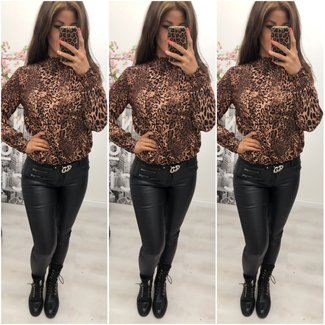 Classy Blouse Brown Leopard - ONESIZE