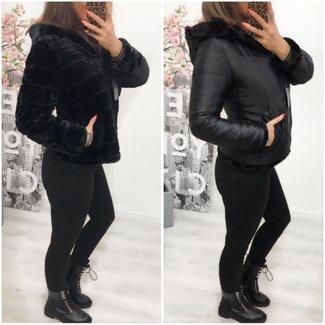 Faux Fur Jacket Reversible short Black