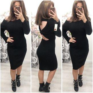 Gebreide Long dress Open Rug Black - ONESIZE
