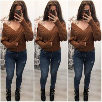 Sweater Short Off Shoulder Camel - ONESIZE
