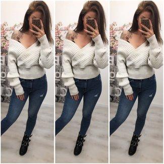 Sweater Short Off Shoulder Beige - ONESIZE
