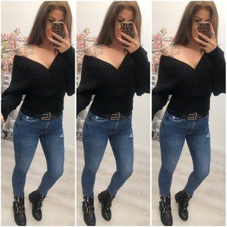Sweater Short Off Shoulder Black- ONESIZE