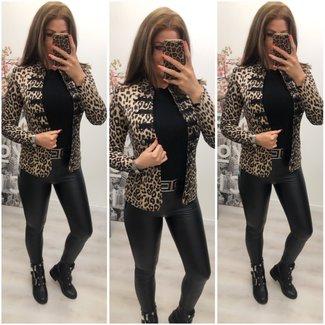 Classy Leopard Button Jacket