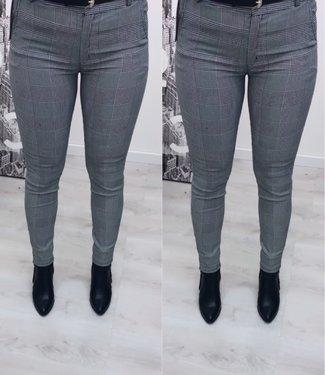 Stretch pantalon geruit grijs (incl riem)