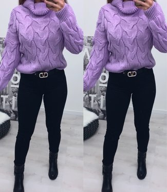 Classy sweater lila kort - onesize