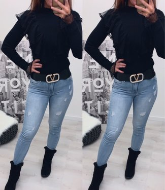 Classy sweater ruffle zwart