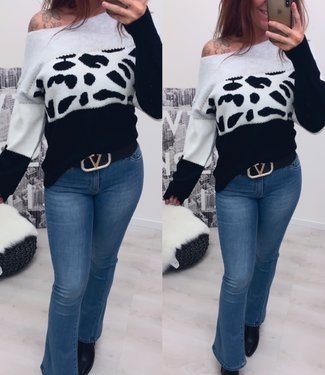 Off Shoulder sweater leopard zwart - onesize
