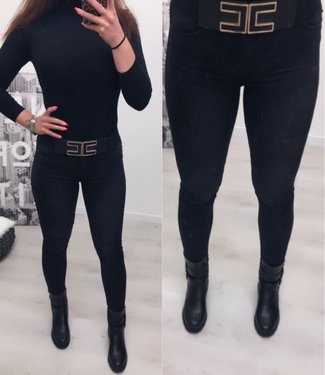 High Waist jeans Black Queen Hearts