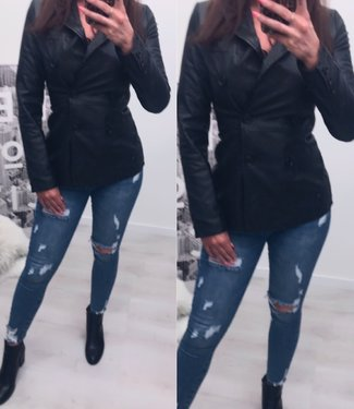 Leather Look Blazer Jacket