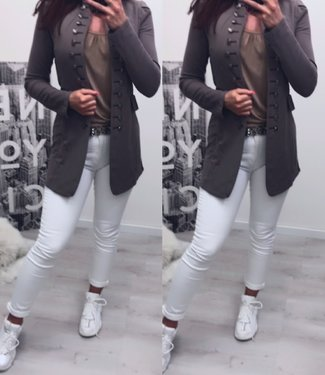 Long button jacket taupe