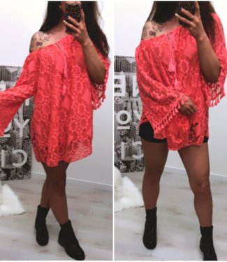 Ibiza Tuniek Short dress Coral - ONESIZE