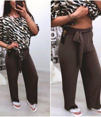 Brown Plisse broek stretch - ONESIZE