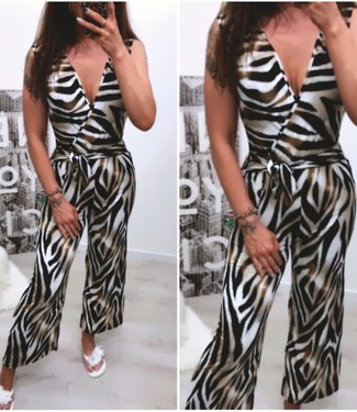 Classy Stretch Jumpsuite Brown - ONESIZE