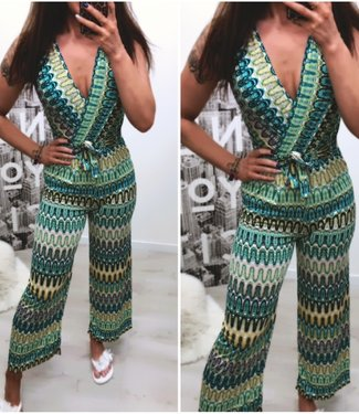 Classy Stretch Jumpsuite Green - ONESIZE