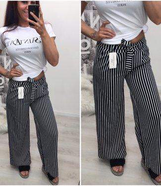 Bow stretch broek Zwart Wit