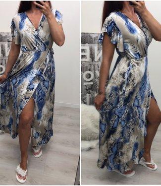 Overslag jurk lang Blauw - ONESIZE