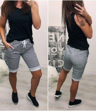 Stretch jogger kort zwart wit - ONESIZE