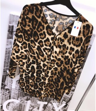 Oversized Leopard Top Brown - ONESIZE