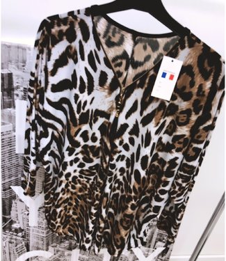 Oversized Leopard Top White - ONESIZE