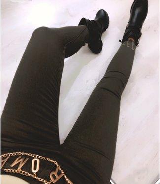 High Waist Jeans Army Groen