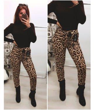 Leopard Stretch Jogger Brown