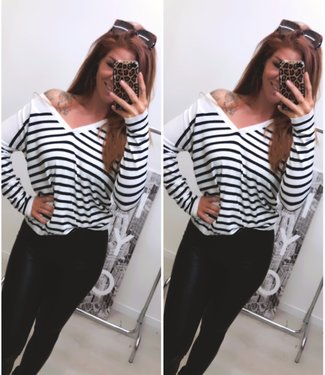 Off Shoulder Sweater Stripe donkerblauw