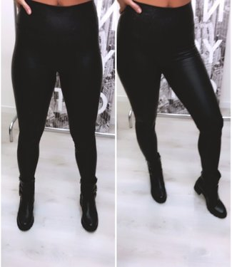 Leather Look Legging Zwart
