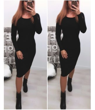 Long stretch dress black - ONESIZE