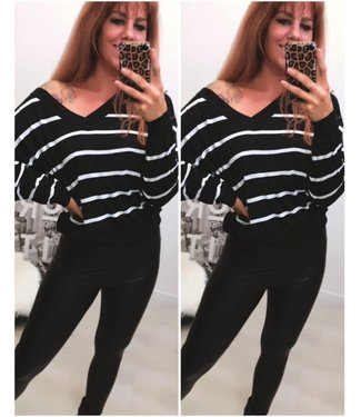 Oversized Sweater Stripe Zwart Wit