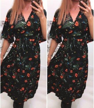 Long wikkel dress flower Black Orange