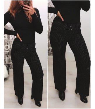 Stretch Pantalon Broek stip Black