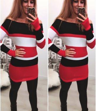 Short Stretch dress Black Red - ONESIZE