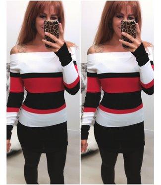 Short Stretch dress White Red - ONESIZE