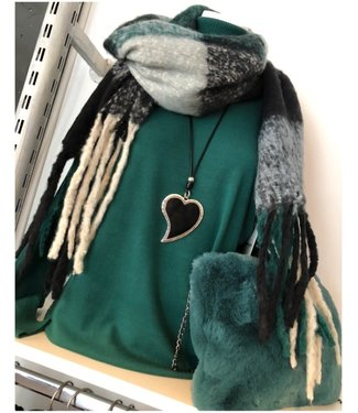 Scarf green ruit