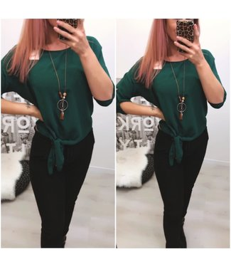 Blouse Green (incl ketting) - ONESIZE