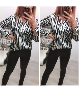 Zebra Blouse Black White