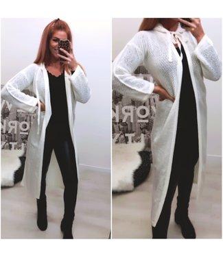 Classy Long Vest Off White - ONESIZE