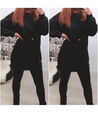 Oversized sweater Grey Black (incl ketting) - ONESIZE