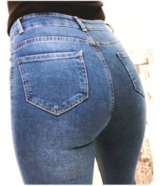 High Waist Stretch Jeans Blue