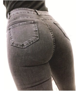 High Waist Stretch Jeans Grey / Black