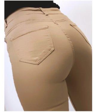 High Waist Stretch Jeans Beige