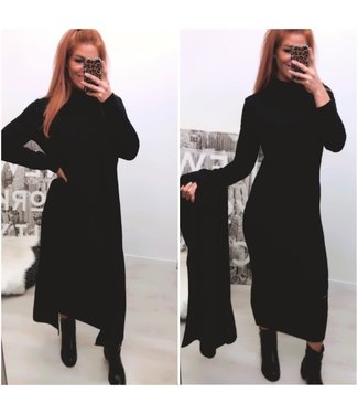 Classy 2 delig set Extra Long Dress + Extra Long Vest - Black