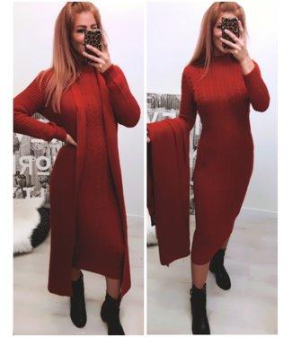 Classy 2 delig set Extra Long Dress + Extra Long Vest - Brick