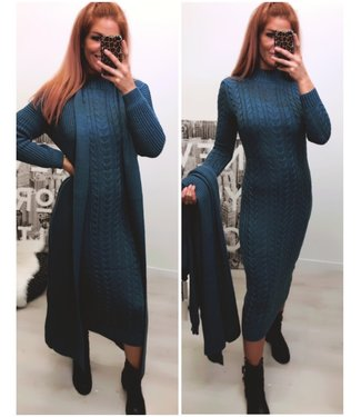 Classy 2 delig set Extra Long Dress + Extra Long Vest - Blue