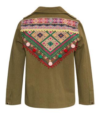 Military jasje met bohemian borduursel