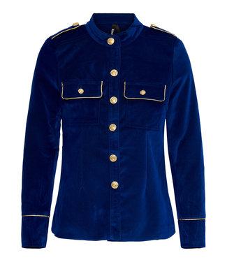 Blauwe blazer ribfluweel
