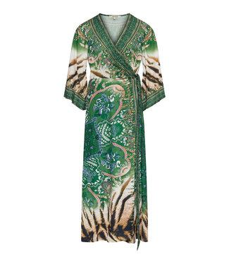 Lange groene kimono met print