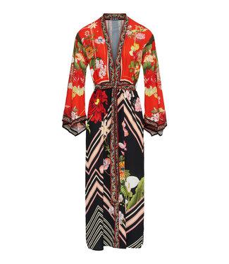 Rode lange kimono met print